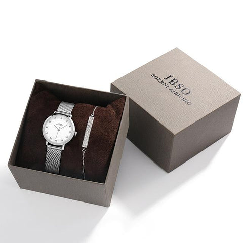 Women's elegant watch set. Silver watch and bracelet included.
