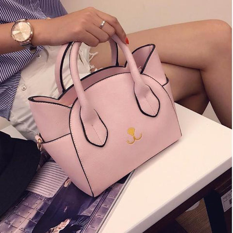 Pink cat design handbag for cat lovers