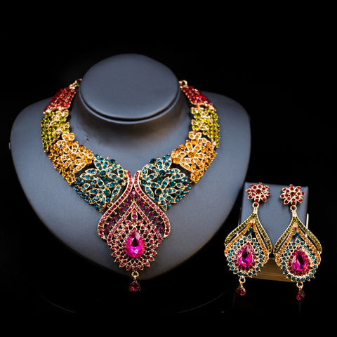 multicolor rhinestone, alloy, copper elegant women's necklace and earrings set