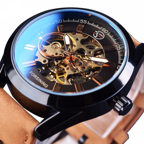 Classy, high fashion, designer style mechanical skeleton watch with leather wristband