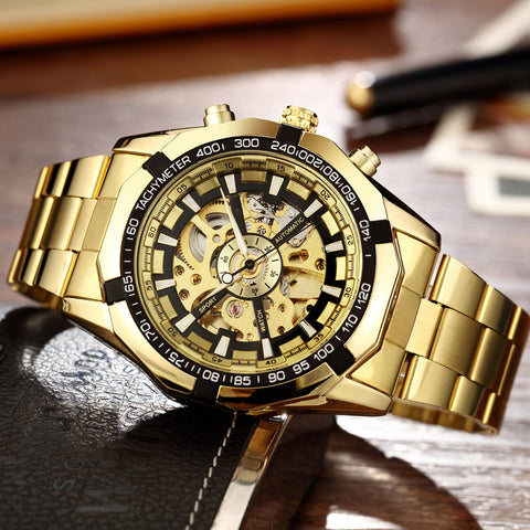 Gold elegant men's windup wristwatch