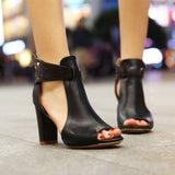 Real genuine leather black, fashion, elegant open toe high heels