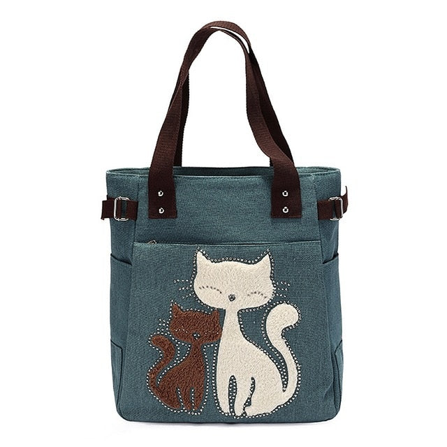 Cat Lovers Canvas Handbag