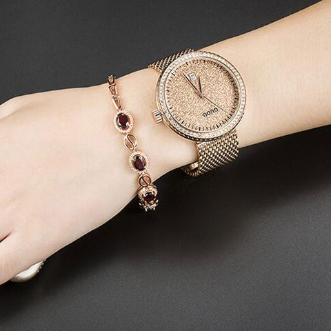Gold, round elegant women's watch