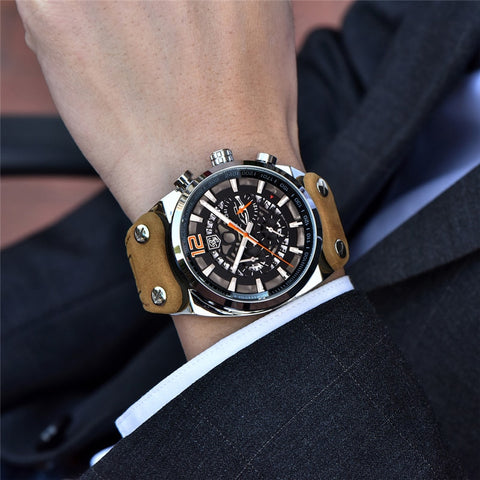 Round case, luxury leather band men's watch