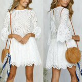 White above the knee summer, spring dress