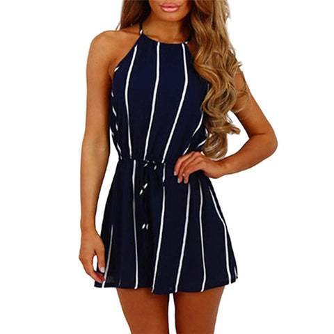 cute off shoulder, lace-up navy blue with white stripes romper