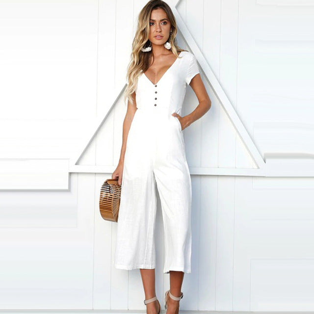 Cropped Jumpsuit with Button Detail