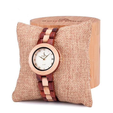round shape wood wristband women's watch