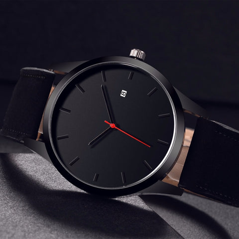 Black, leather band, fashion, business beautiful classy watch. Men with style
