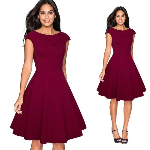 Maroon knee-length sleeveless cute women's dress