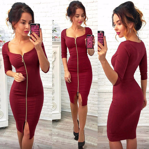 Front Zipper Dress