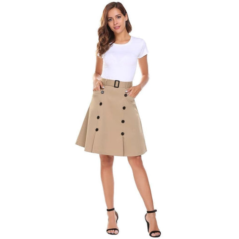 Knee Length High Waisted Skirt