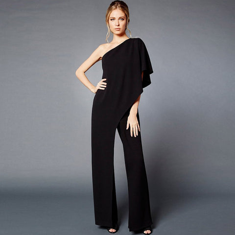 black one shoulder wide leg women's jumpsuit