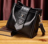 Black elegant 100% genuine leather fashion women's tote bag