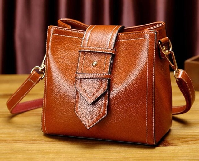 Genuine leather light brown tote fashion, elegant bag