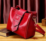 100% Real leather elegant and fashion red tote