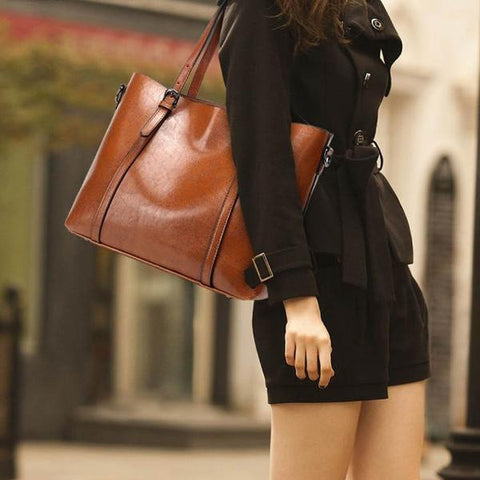 Large elegant faux leather light brown tote