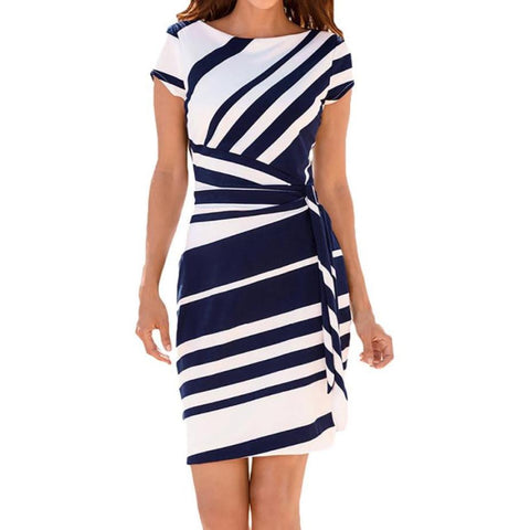 striped navy blue and white pencil women's dress