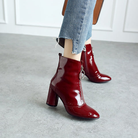 Red Leather Zipper Booties