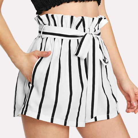 white striped high waisted shorts