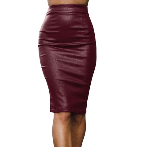 Maroon pencil faux leather elegant skirt
