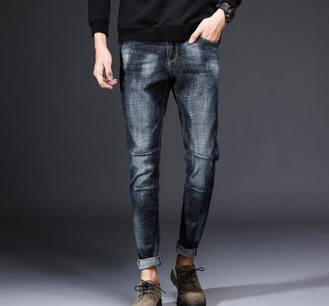 Stretchy fashion design men's blue jeans