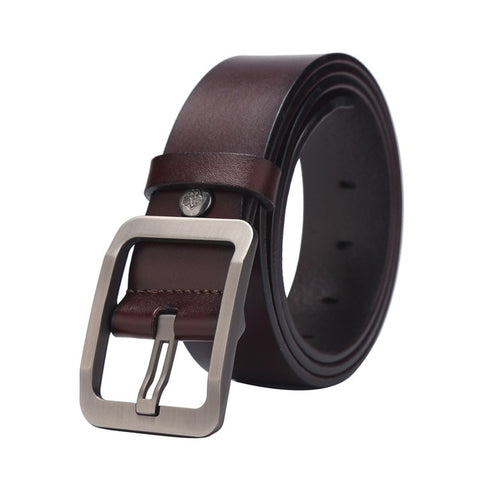 Real genuine leather elegant classic buckle men's belt. Maroon color belt