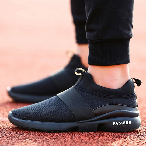 Men's black tennis shoes. Athleisure.