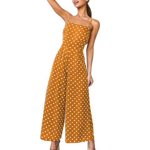 Polka Dot Backless Jumpsuit