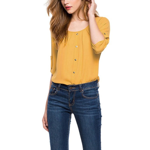Yellow three quarter sleeves, o-neck women's blouse