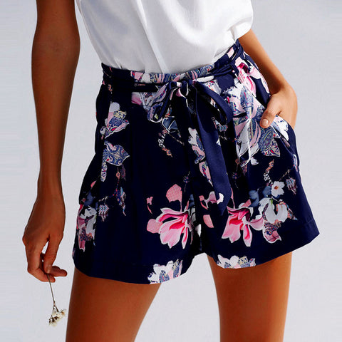dark blue with floral printing women's high waisted shorts