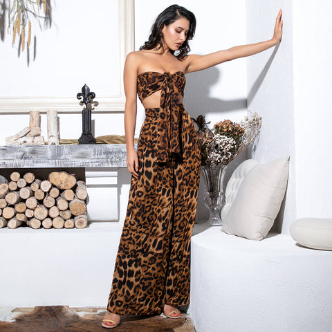 Chiffon leopard print women's set. Top and wide leg bottom pants. Elegant, fashion set