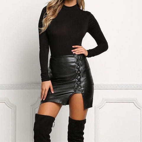 Sexy Bandage Faux Leather Skirt