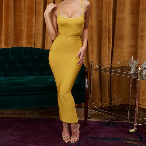 Yellow evening elegant women's dress
