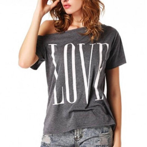 Loose style women's dark gray tee with LOVE printed
