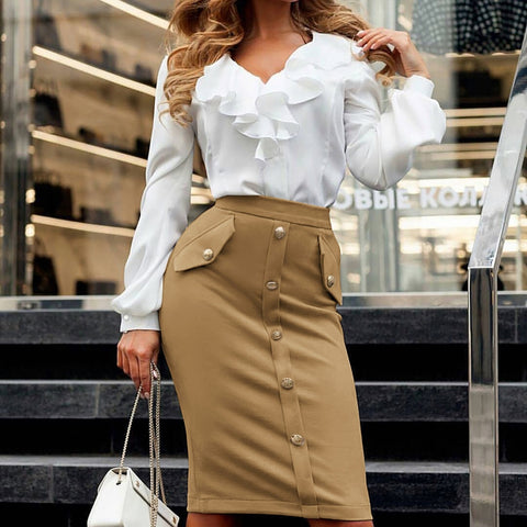 Khaki pencil button, elegant skirt.