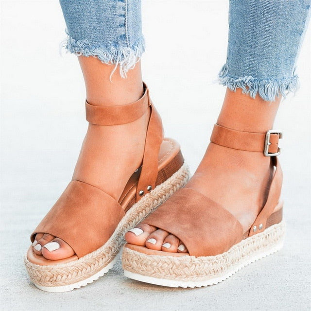 Brown buckle strap, ankle strap women's sandals