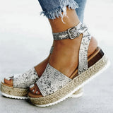 Snake print pattern, ankle strap, platform design women's sandals