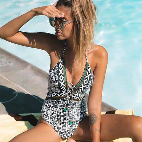 Tribal Print One Piece Swimsuit