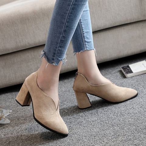 Beige, back zipper women's pumps