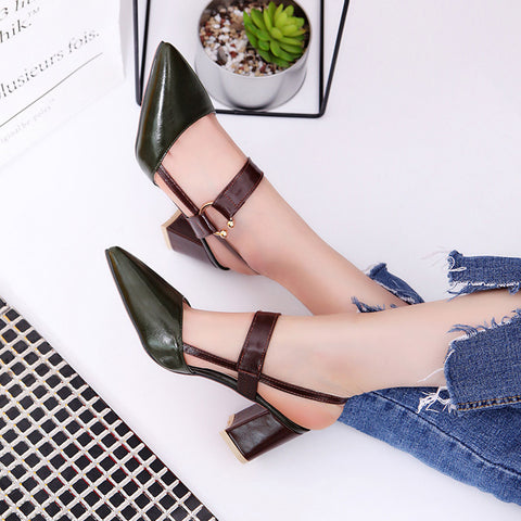 pointed toe, square heel green women's shoes