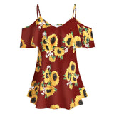 Red with sunflowers printed women's blouse