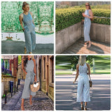Sleeveless Striped Wide Leg Jumpsuit