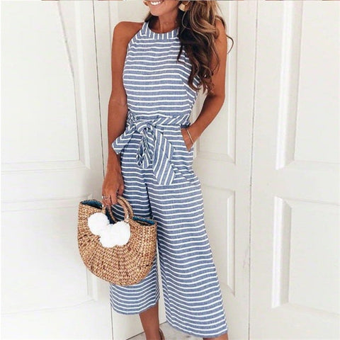 Striped blue jumpsuit