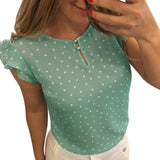 Green polka dot women's blouse.