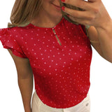 Red with white polka dots women's blouse.