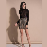 Short skirt with leopard printing design. Elegant, beautiful