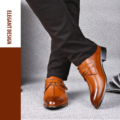 Khaki excellent quality, elegant and classy men's business shoes
