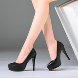Platform Thin Heel Genuine Leather Pumps